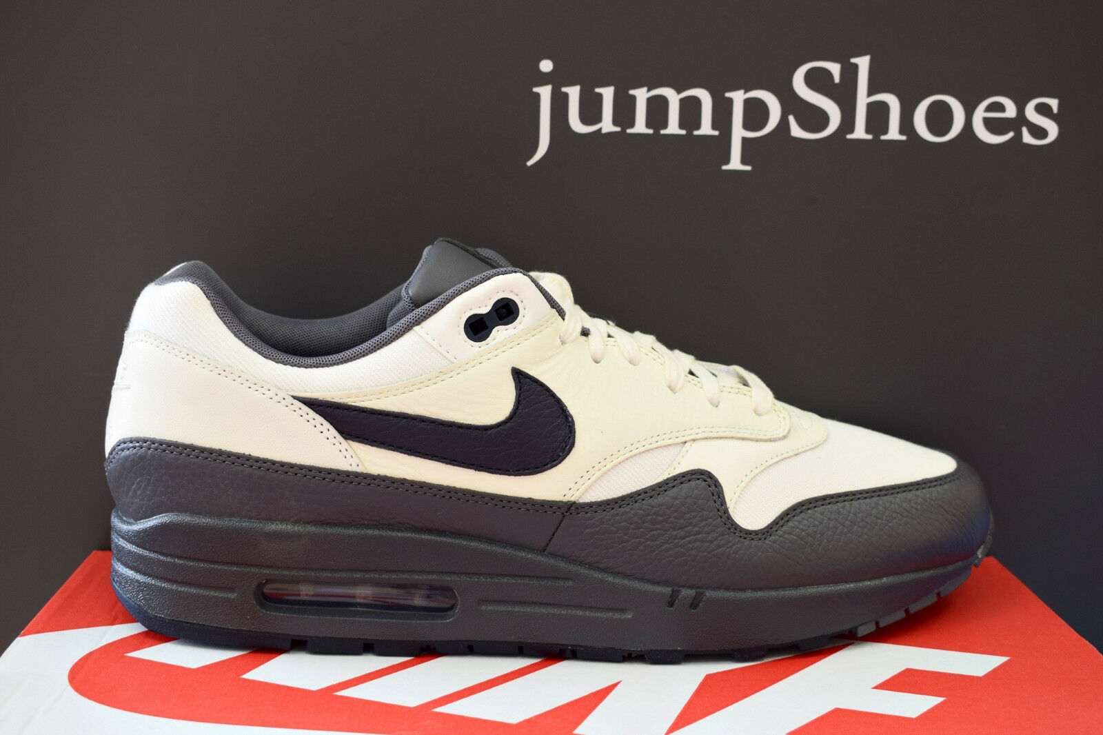 Nike Air Max 1 Premium lifestyle sneakers sail dark obsidian NEW 875844-100 Cheap and beautiful fashion
