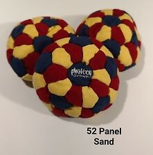 (SET OF 3)Phatboy 52 Panel SAND Filled HackySack Footbag Red/Yellow/NavyBlue