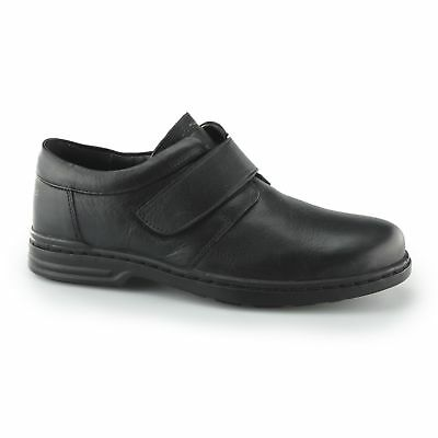 Hush Puppies JEREMY HANSTON Mens Comfy Leather Touch Fasten Derby Shoes Black