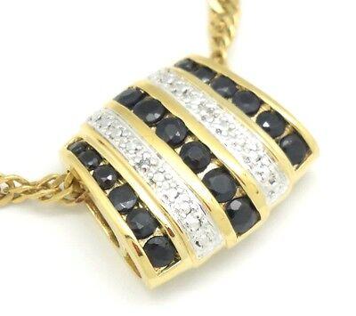 Anhänger Schwarzer Spinell  Diamant  Silber 925 Sterlingsilber  Vergoldet