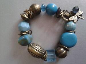 Armband-Bettelarmband-Perlen-Kette-Modeschmuck-Tuerkis-Blau