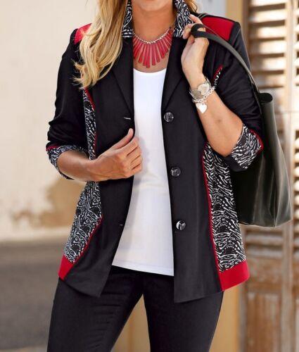 Stylé Jersey-Blazer noir et blanc-rouge taille 46 48 52 54 56 58 60 62 Nouveau
