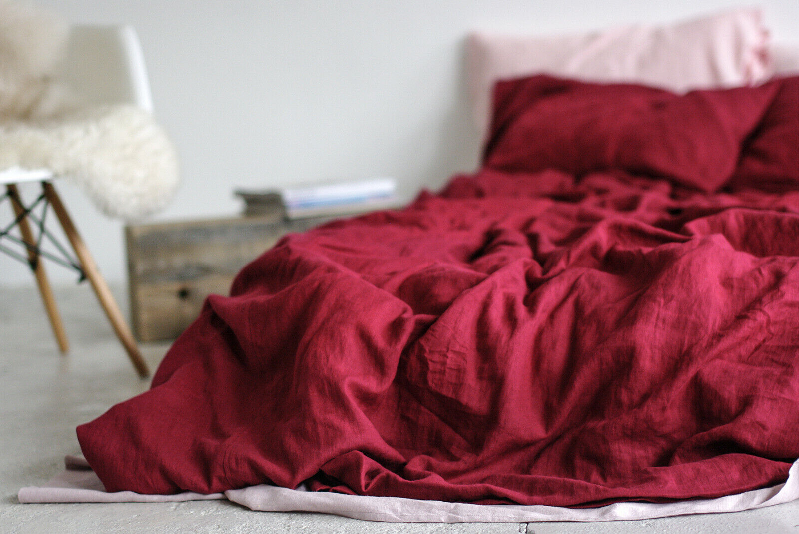 Dark Cherry rot Stonewashed Linen Duvet Cover