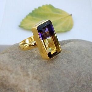 Two-Color-Ametrine-Quartz-Sterling-Silver-Yellow-Gold-Handmade-Gift-Ring-Jewelry