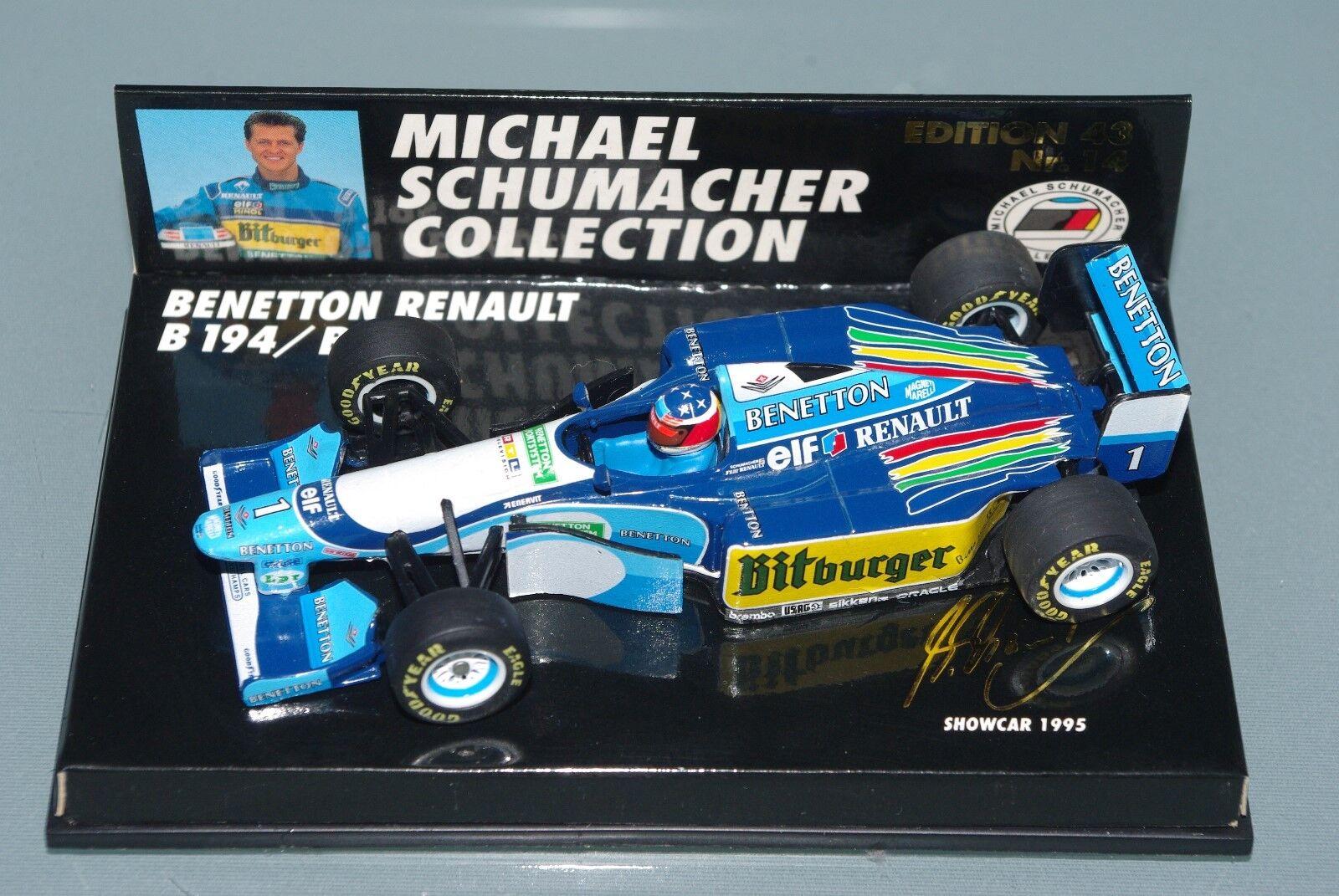 Des affiches pour des cadeaux, des coins coupés à envoyer! Joyeux Noël! Minichamps F1 1/43 Benetton Renault B194/B195 CAR 1995-Michael Schumacher | Matériaux De Qualité  | Paquet Solide Et élégant  | économie