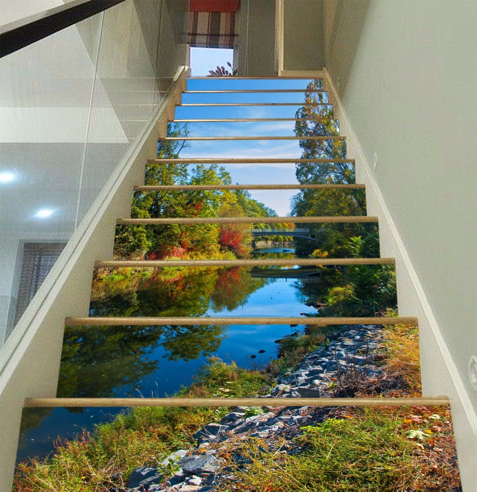3D River Scenery 90 Stair Risers Decoration Photo Mural Vinyl Decal WandPapier AU