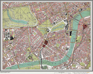 Pimlico London Map.Brompton Pimlico Map London 1908 16 Ebay