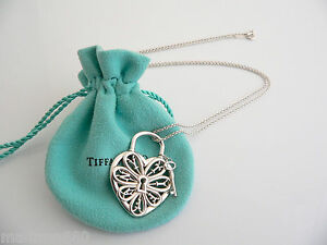 13291210a Tiffany & Co Silver XL Extra Large Filigree Heart Key Necklace ...