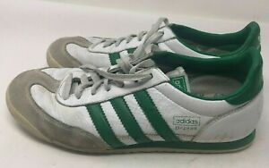 Adidas White / Green Dragon 3 Stripe Athletic Running Shoes Men's ...