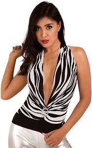 Womens-Animal-Zebra-Print-Draped-Waterfall-Halterneck-Cowling-Clubwear-Party-Top