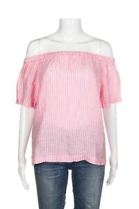 aac7fc9574709 NWT J.CREW Pink Off The Shoulder Top Size XS White Striped Blouse ...