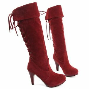 Botines botas de mujer talón 10.5 cm rojo ante elegantes caldi cómodo 8966