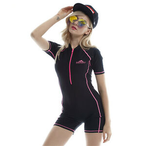 4e0078bcd2cbc Women One Piece Swimsuit Short Sleeve Rash Guard Dive Skin Swimming ...