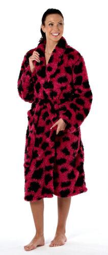 Ladies Animal Print Spot Fleece Dressing Gown Robe Sizes 10-20 Faux Fur