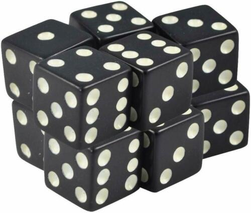 Pack of 10-8mm Dice Black Square Corner Opaque White Spots Organza Bag