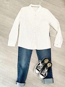 ladies-White-Stuff-Cotton-Blouse-Shirt-long-sleeve-Blogger-White-Mix-Size-12