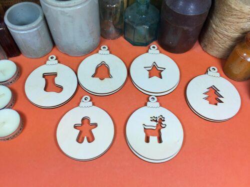 x12 WOODEN CHRISTMAS BAUBLES SET DECORATION 7.5cm shape wood bauble shapes