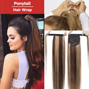 High-Quality-Human-Hair-Ponytail-Extensions-Hair-Wrap-Pony-tail-Brown-Blonde-US