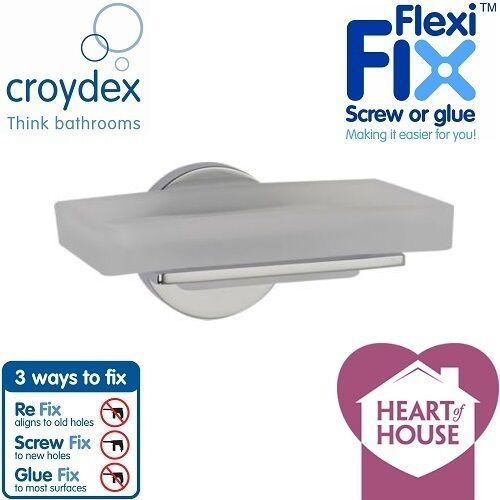 Croydex accessoire de toilette salle de bains embuée Porte-savon en verre finition chrome ensemble   5932