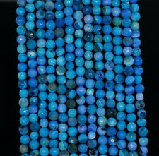 """4MM  AGATE GEMSTONE TURQUOISE BLUE FACETED ROUND LOOSE BEADS 15"""""""
