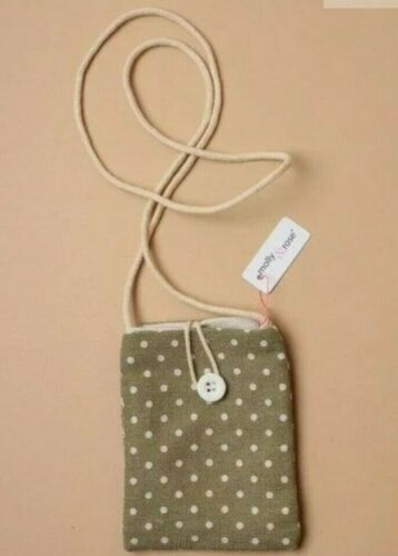Polka dot fabric purse long natural cord shoulder strap with button 3 colours