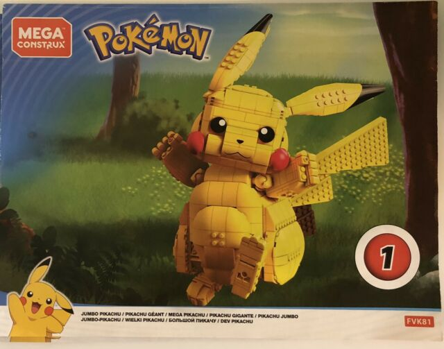 """MEGA CONSTRUX POKEMON Jumbo Pikachu Wonder Builders 825 pcs 13"""""""