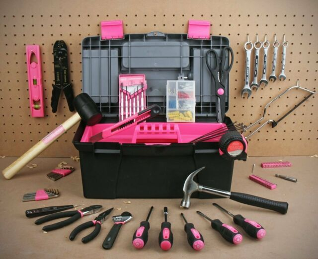 Women  Household Tool Case Set Ladies Box Kit Home Repair Tools Pink New