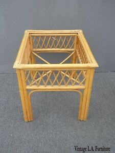 Details About Vintage Tiki Palm Beach Bamboo Rattan Bamboo End Table As Is