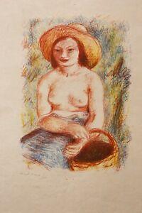 Pierre-Deval-1897-1993-Ritratto-Giovane-Donna-Litografia-Lione