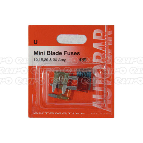 Autobar 485 Assorted Mini Blade Fuses 4 Pieces 10A 15A 20A 30 Amp Replacement