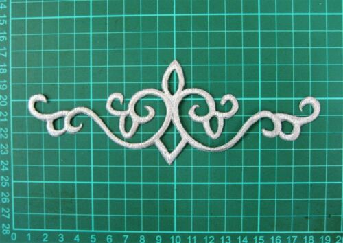 Dance Stage Costume Trim Decoration Silver Applique Iron On Embroidery #12