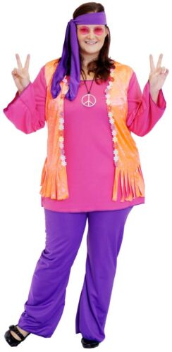 1960/'s//1970/'s Woodstock Festival HAPPY BRIGHT HIPPY Fancy Dress outfit all sizes