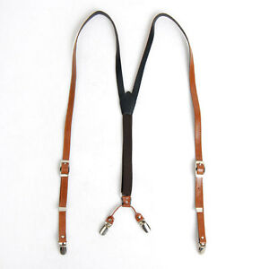 Mens-Faux-Leather-Suspenders-Y-Back-Retro-Braces-Clip-On-Brown-Tan