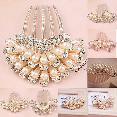 Womens Crystal Pearl Flowers Wedding Party Bridal Hair Comb Hairpin Clip Jewelry