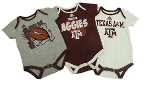 NCAA Adidas Texas A&M Aggies 3 Piece Baby Infant Creeper New
