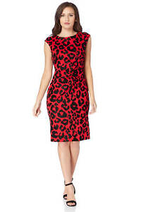 Roman-Originals-Ladies-Leopard-Flock-Detail-Dress-Red
