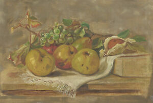 Early 20th Century Oil - Still Life With Apples and Grapes