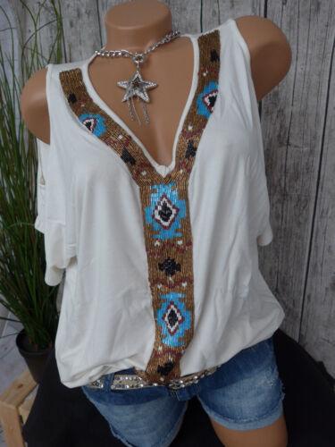 Mandarin Shirt Bluse Gr 629 34-44 mit Pailletten