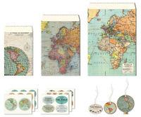 Cavallini - Petite Parcel Set - Vintage Maps - 12 Gift Bags, Tags & Stickers