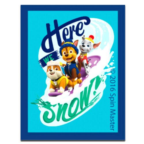 5,0 x 6,4 cm Aufnäher // Bügelbild PAW PATROL HERE WE SNOW blau