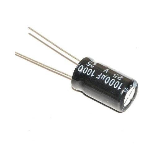 6 PCS 25V 1000uF Radial Electrolytic Capacitor NEW