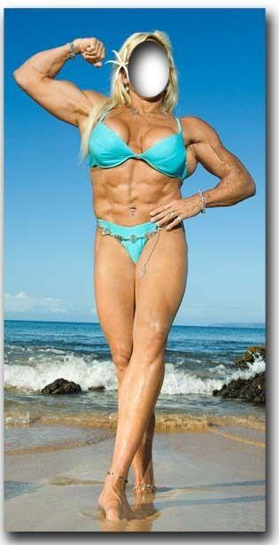 Muskel Damen zum hineinstehen lebensechte Größe Größe Größe Pappfigur 725f71