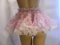 Sissy Adult Baby Fancy Dress Pink Organza Micro Mini Skirt 11long All Sizes