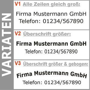 2-Zeilen-Aufkleber-Beschriftung-30-180cm-Werbung-Sticker-Werbebeschriftung-LKW