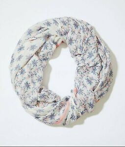 Ann-Taylor-LOFT-NEW-Garden-Trellis-Floral-Infinity-Scarf-White-Multi-NWT