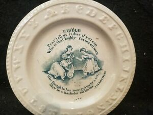 RARE-ANTIQUE-STAFFORDSHIRE-RIDDLE-A-CLERGYMAN-TRANSFERWARE-ABC-CHILD-039-S-PLATE