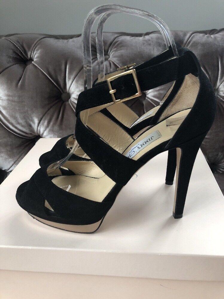 Jimmy Choo Choo Choo 'Kuki' Gamuza Negra Plataforma Zapato Taco Sandalias EU 37.5 UK 4.5  Seleccione de las marcas más nuevas como