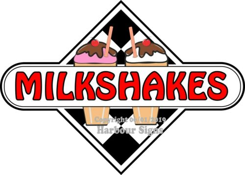 Choose Your Size Milkshakes DECAL Ice Cream Chec Food Truck Concession Sticker