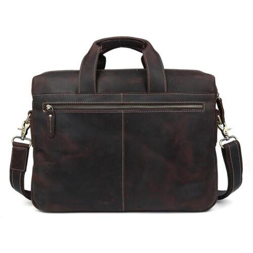 """Vintage Men/'s 15/"""" Laptop Briefcase Leather Messenger Bag Crossbody Work Satchel"""