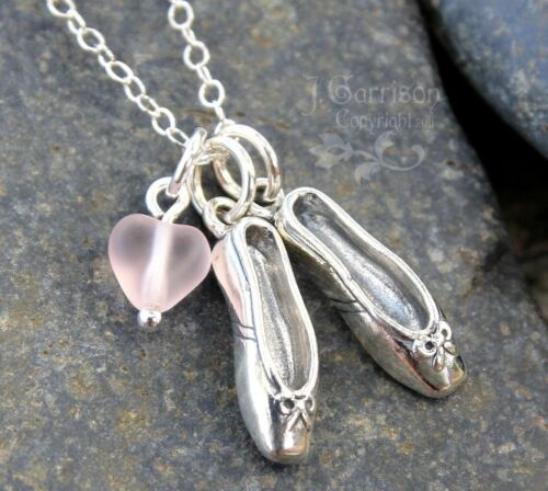 Love Ballet Necklace sterling silver dancing shoes charms and pink glass heart